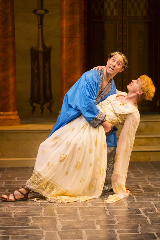 <p>Kevin Isola (Senex) and David Turner (Philia) share a &quot&#x3B;romantic&quot&#x3B; moment in <em>A Funny Thing Happened on the Way to the Forum</em>.   </p><br />(© T. Charles Erickson)