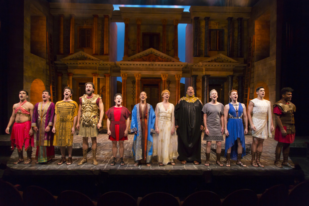 <p>The full cast of Two River Theater&#39&#x3B;s all-male production of <em>A Funny Thing Happened on the Way to the Forum</em>.</p><br />(© T. Charles Erickson)