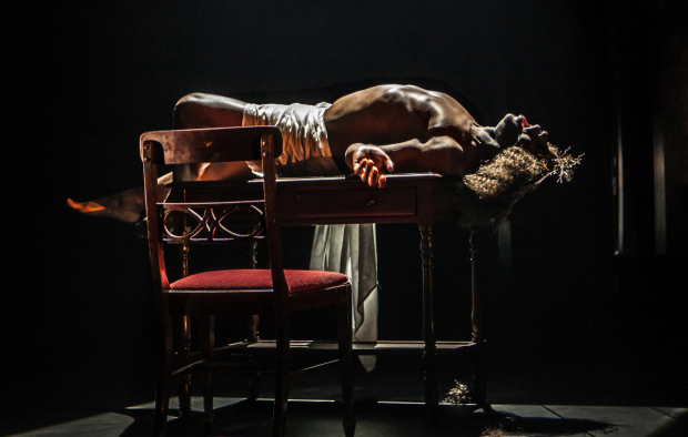 <p>Mikéah Ernest Jennings plays Jesus, one of Sarah&#39&#x3B;s selves, in Signature Theatre&#39&#x3B;s production of Adrienne Kennedy&#39&#x3B;s <em>Funnyhouse of a Negro</em>.</p><br />(© Monique Carboni)