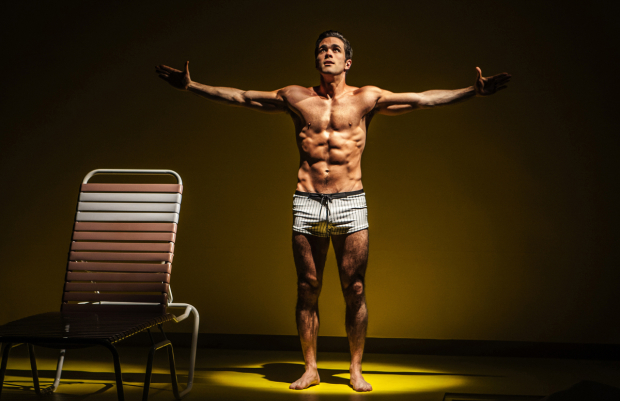 <p>The Young Man (Ryan-James Hatanaka) becomes the Angel of Death in Edward Albee&#39&#x3B;s <em>The Sandbox</em>.</p><br />(© Monique Carboni)