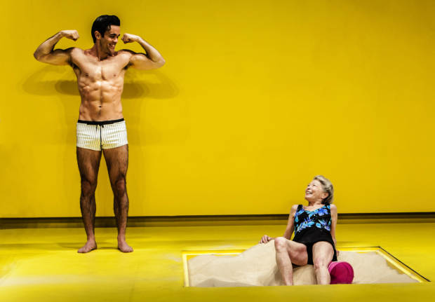 <p>Grandma (Phyllis Somerville) looks on as the Young Man (Ryan-James Hatanaka) flexes in Edward Albee&#39&#x3B;s <em>The Sandbox</em>.</p><br />(© Monique Carboni)