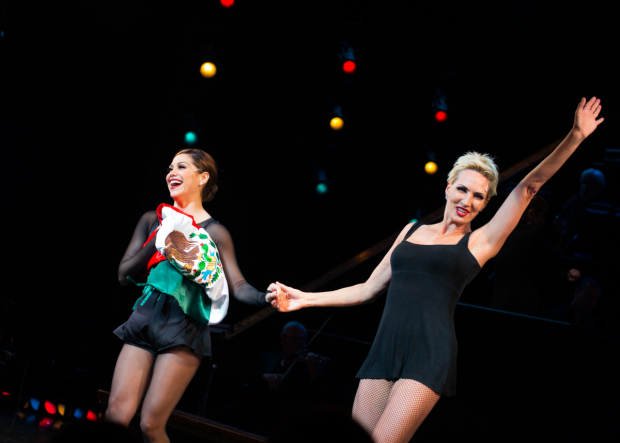 <p>Marroquín and Wright take an elated curtain call.</p><br />(© Allison Stock)