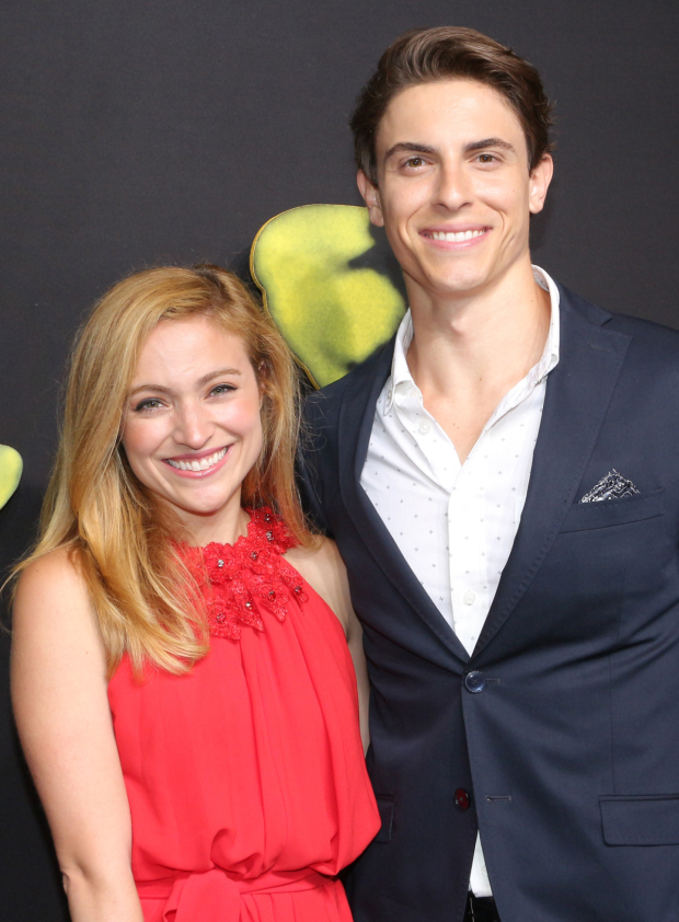 <p><em>Anastasia</em> stars Christy Altomare and Derek Klena take a photo together.</p><br />(© David Gordon)