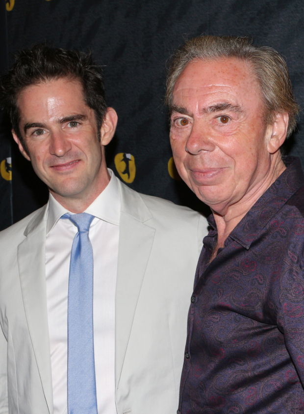 <p><em>Cats</em> choreographer Andy Blankenbuehler poses for a photo with the musical&#39&#x3B;s creator, Andrew Lloyd Webber.</p><br />(© David Gordon)