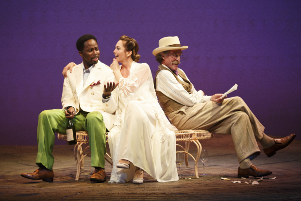 <p>Harold Perrineau, Diane Lane, and John Glover in a scene from <em>The Cherry Orchard</em>.</p><br />(© Joan Marcus)