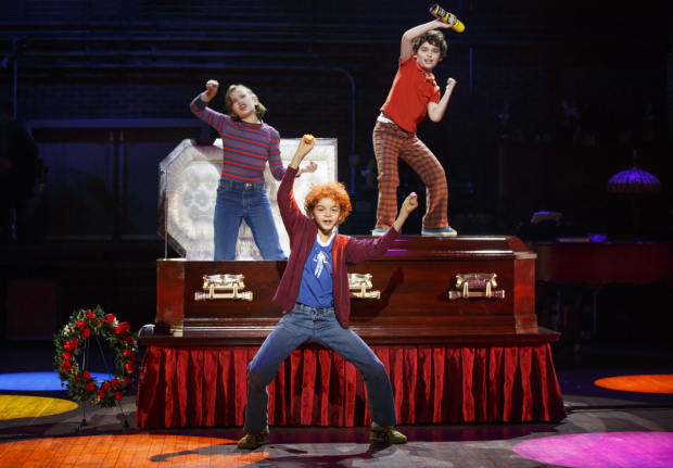 <p>The young stars of <em>Fun Home</em> sing &quot&#x3B;Come to the Fun Home.&quot&#x3B;</p><br />(© Joan Marcus)