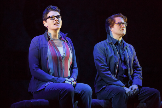 <p>Robert Petkoff as Bruce shares a scene with Kate Shindle as Alison.</p><br />(© Joan Marcus)