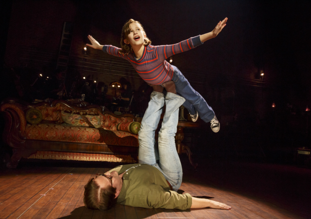 <p>Alessandra Baldacchino as Small Alison and Robert Petkoff as Bruce in a scene from <em>Fun Home</em>.</p><br />(© Joan Marcus)