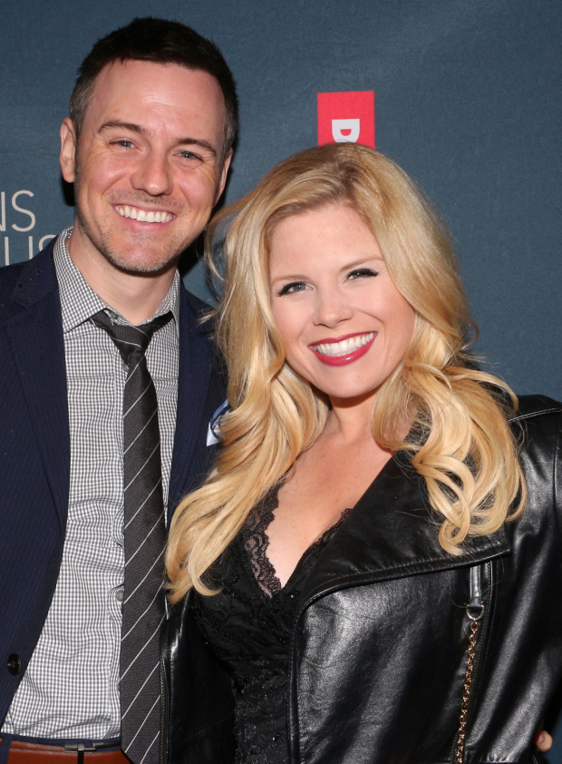 <p>Brian Gallagher and Megan Hilty take in a Broadway opening night.</p><br />(© David Gordon)