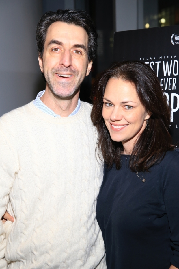 <p>Jason Robert Brown and Georgia Stitt are on hand for the screening.</p><br />(© Tricia Baron)