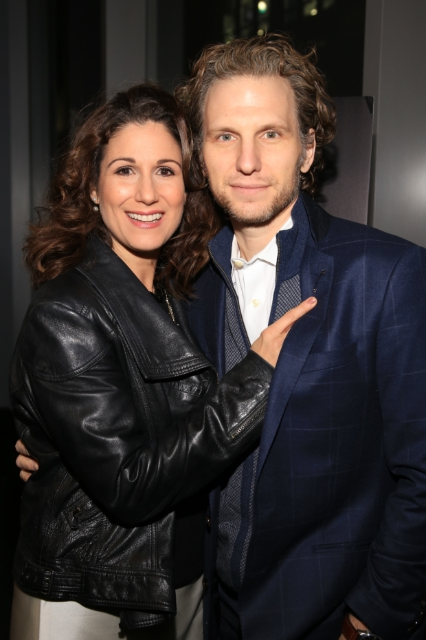<p>Stephanie J. Block and Sebastian Arcelus smile for the cameras. </p><br />(© Tricia Baron)