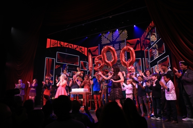 <p>Balloons and a cake are brought out to commemorate the 1,500th performance of <em>Kinky Boots</em> on Broadway.</p><br />(© Tricia Baron)