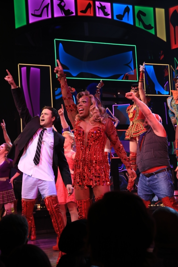 <p>Aaron C. Finley, Todrick Hall, and the cast of <em>Kinky Boots</em> rock out to the show&#39&#x3B;s finale.</p><br />(© Tricia Baron)