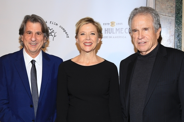 <p>Beatty joins honorees David Rockwell and Annette Bening for a photo.</p><br />(© Tricia Baron)