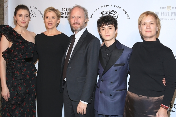 <p>The team behind the new film <em>20th Century Women</em>: Greta Gerwig, Annette Bening, Mike Mills, Lucas Jade Zumann, and Anne Carey.</p><br />(© Tricia Baron)