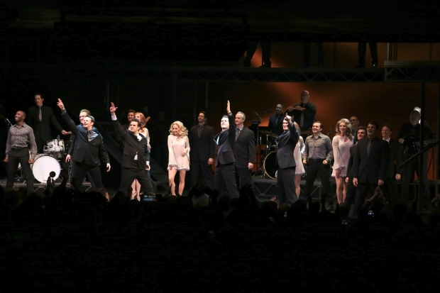 <p>The cast of <em>Jersey Boys</em> strikes its final pose.</p><br />(© Tricia Baron)