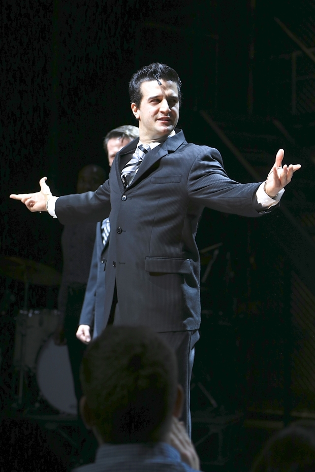 <p>Mark Ballas bows as Frankie Valli.</p><br />(© Tricia Baron)