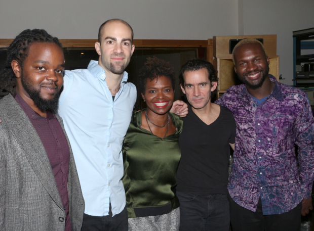 <p>LaChanze and her band (Victor Gould, Jarod Schonig, Sean Driscoll, and producer/arranger Michael Olatuja) in the recording studio.</p><br />(© David Gordon)