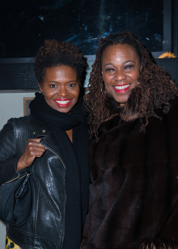 <p><em>Once on This Island</em> costars LaChanze and Kecia Lewis arrive for the show.</p><br />(© Allison Stock)