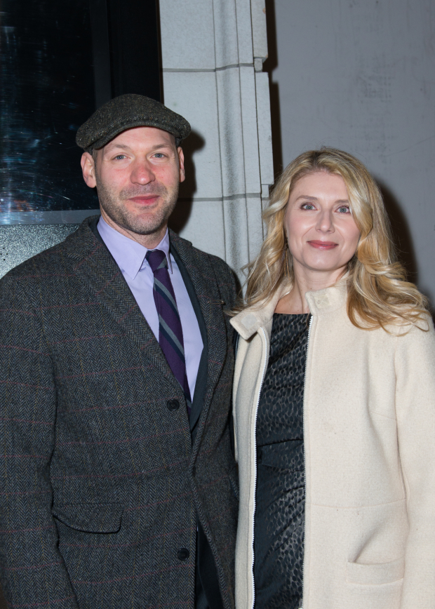 <p>Corey Stoll arrives at the Samuel J. Friedman Theatre with his wife, Nadia Bowers.</p><br />(© Allison Stock)