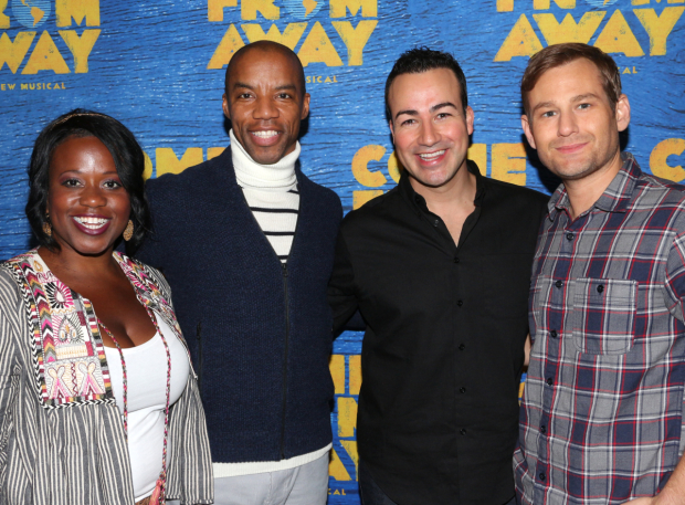 <p>Q. Smith, Rodney Hicks, Caesar Samayoa, and Chad Kimball star in <em>Come From Away</em>.</p><br />(© David Gordon)