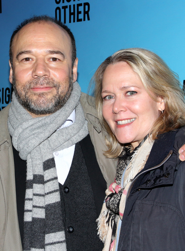 <p>Danny Burstein and Rebecca Luker are excited to see <em>Significant Other</em> on opening night.</p><br />(© David Gordon)