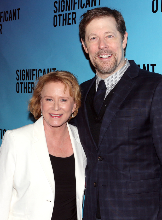 <p>Eve Plumb and John Bolton pal around on opening night.</p><br />(© David Gordon)