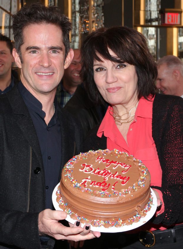 <p>Director and choreographer Andy Blankenbuehler celebrates his birthday with cast member Beth Leavel.</p><br />(© David Gordon)