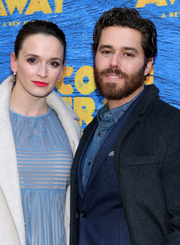 <p>Emily Padgett and Josh Young spend date night at the theater.</p><br />(© David Gordon)