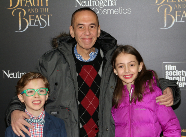 <p>Gilbert Gottfried, who voiced the role of Iago in <em>Aladdin</em>, arrives with his kids.</p><br />(© David Gordon)