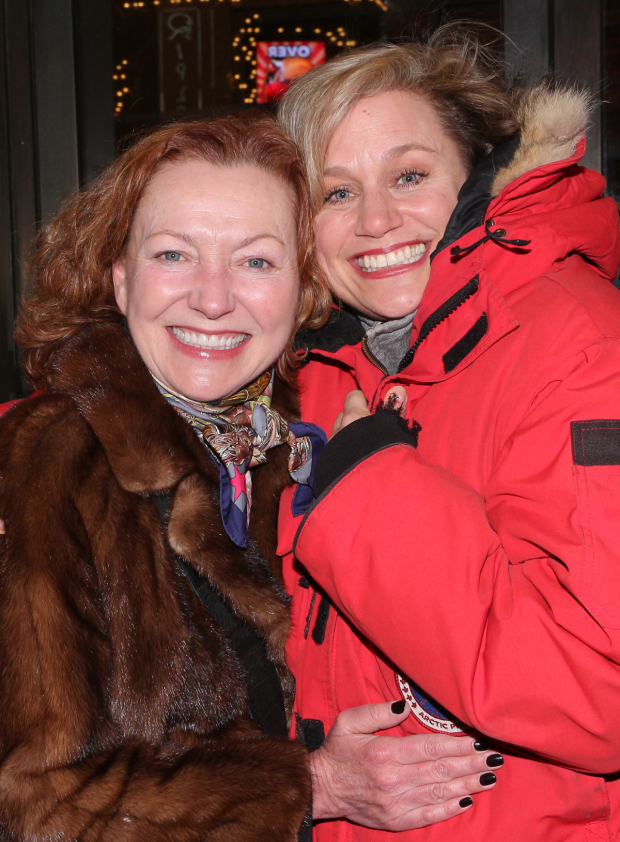 <p>Tony winners Julie White and Cady Huffman escape the cold at the opening of <em>The Price</em>.</p><br />(© David Gordon)