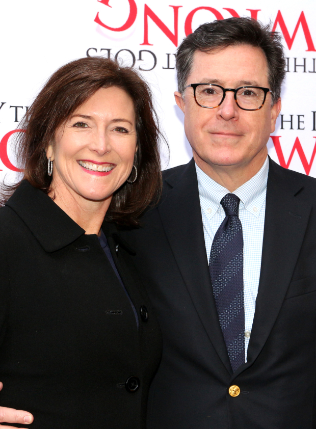 <p>Stephen Colbert and his wife Evelyn enjoy a night out on Broadway.</p><br />(© David Gordon)