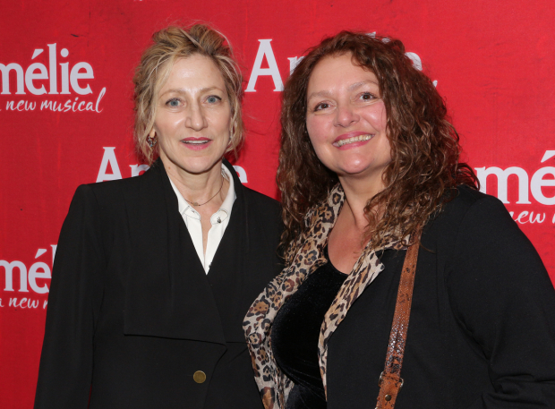 <p><em>Sopranos</em> sisters-in-law Edie Falco and Aida Turturro take in the show together.</p><br />(© David Gordon)