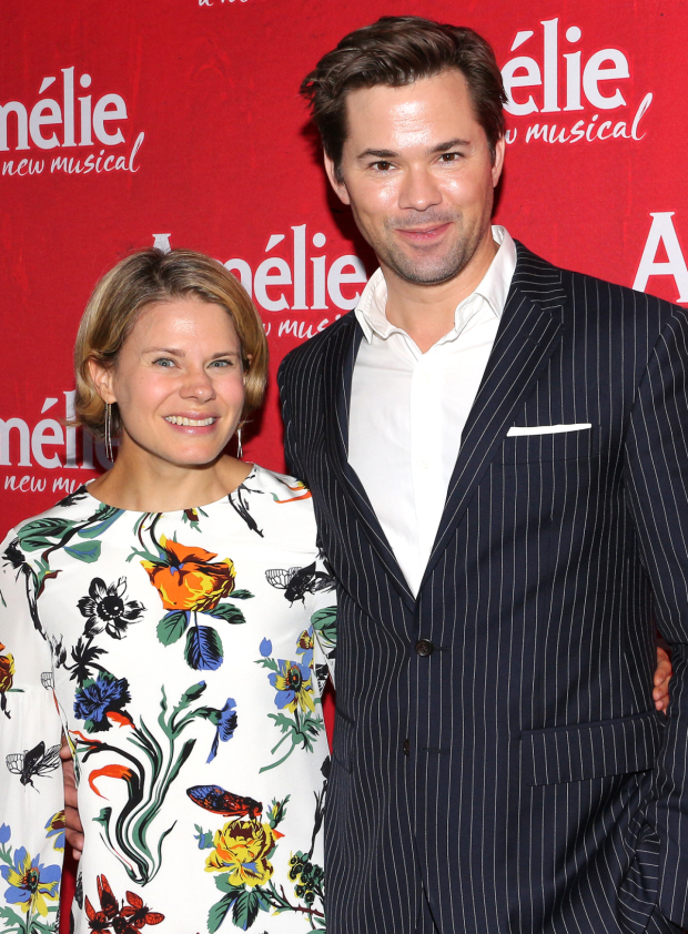 <p>Celia Keenan-Bolger and Andrew Rannells get ready to see <em>Amélie</em> on Broadway.</p><br />(© David Gordon)