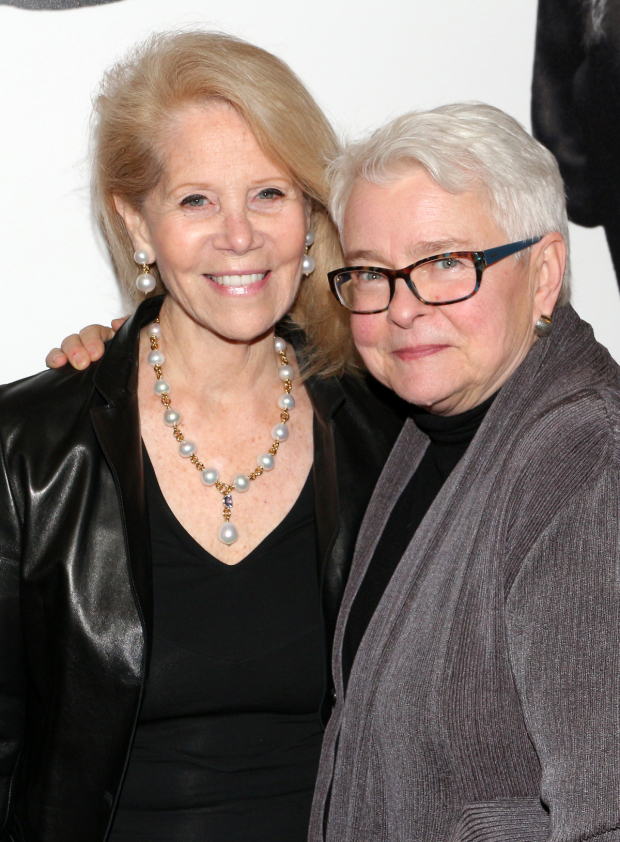 <p><em>Indecent</em> collaborators Daryl Roth and Paula Vogel head to the opening of <em>Present Laughter</em>.</p><br />(© David Gordon)