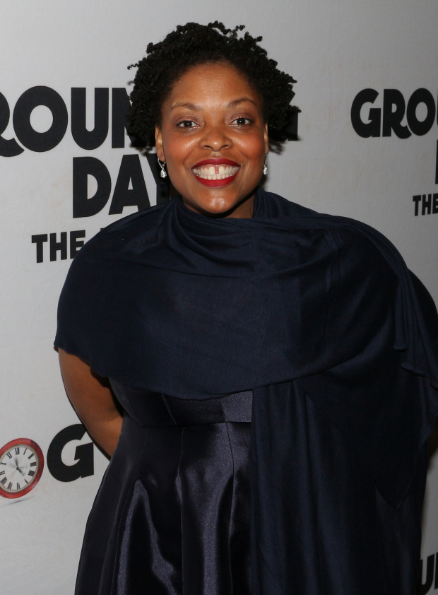 <p>Ensemble member Rheaume Crenshaw is thrilled to celebrate the opening of <em>Groundhog Day</em>.</p><br />(© David Gordon)