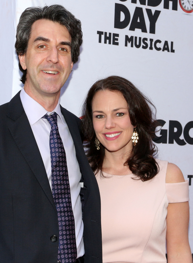 <p>Jason Robert Brown and Georgia Stitt head into the August Wilson Theatre.</p><br />(© David Gordon)