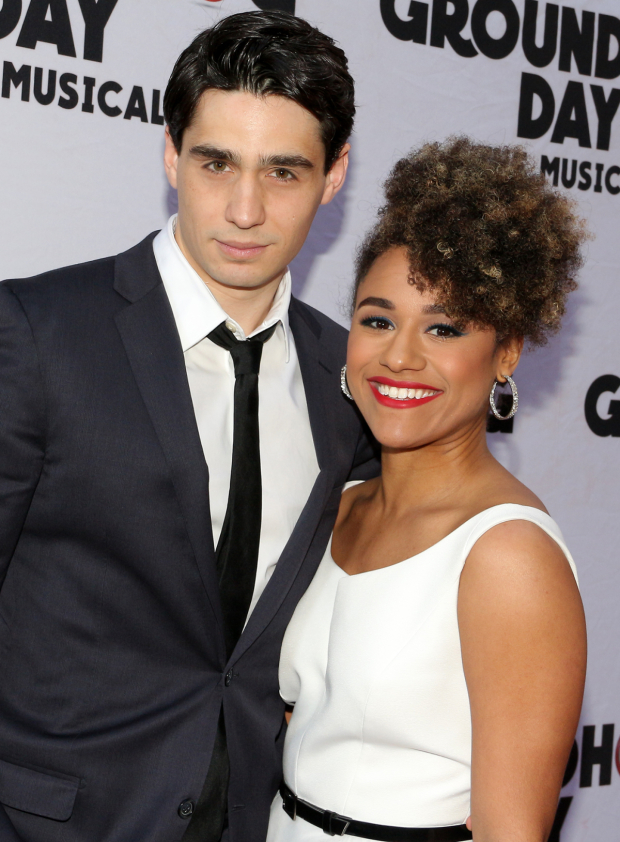 <p><em>A Bronx Tale</em>&#39&#x3B;s Bobby Conte Thornton and Ariana DeBose spend their off night at <em>Groundhog Day</em>.</p><br />(© David Gordon)
