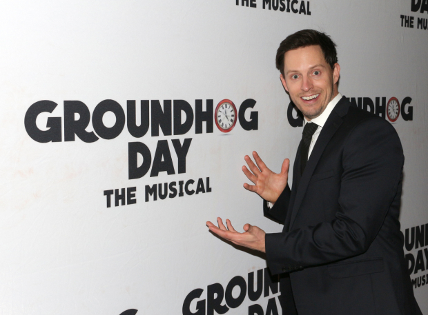 <p>Cast member Andrew Call points out what show we&#39&#x3B;re celebrating.</p><br />(© David Gordon)