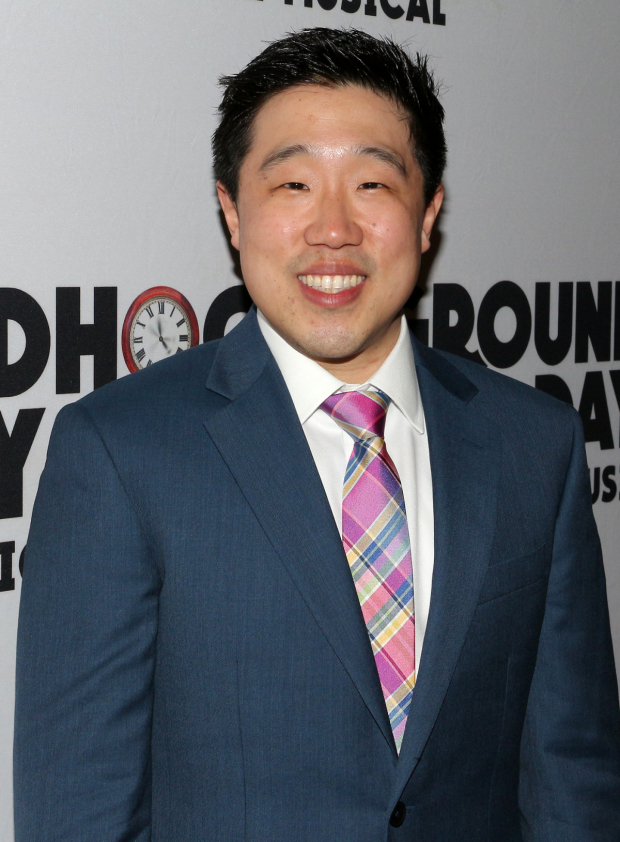 <p>Raymond J. Lee takes on several roles in <em>Groundhog Day</em>.</p><br />(© David Gordon)