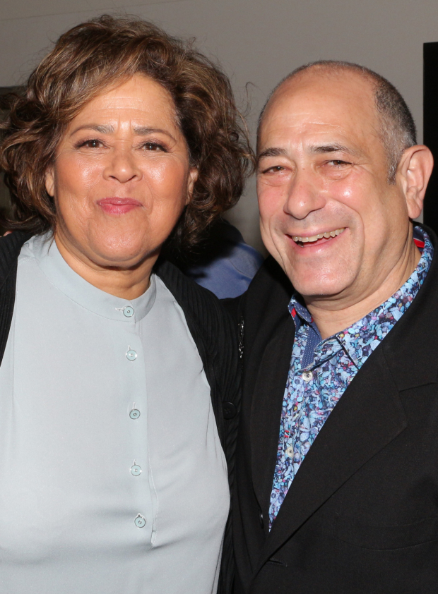 <p>Anna Deavere Smith (<em>Notes From the Field</em>) and David Dorfman (<em>Indecent</em>) smile fore the cameras.</p><br />(© David Gordon)