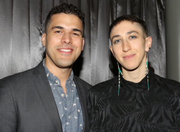 <p>Joel Perez (<em>Sweet Charity</em>) and Jo Lampert (<em>Joan of Arc</em>) take a photo together.</p><br />(© David Gordon)