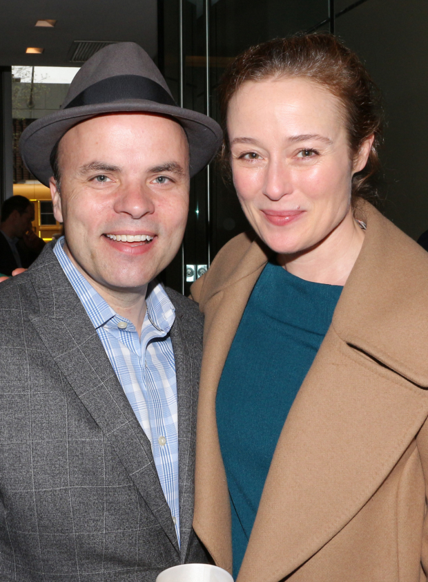 <p><em>Oslo</em> collaborators J.T. Rogers and Jennifer Ehle smile for the cameras.</p><br />(© David Gordon)