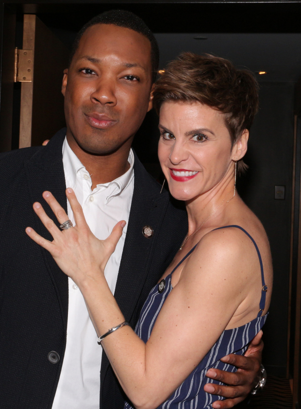 <p>Jenn Colella hugs it out with her fellow nominee and pal Corey Hawkins.</p><br />(© David Gordon)