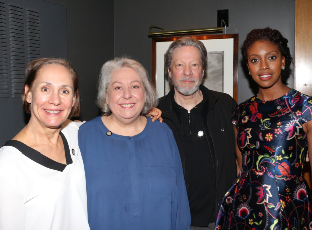 <p>The nominated company of <em>A Doll&#39&#x3B;s House, Part 2</em>: Laurie Metcalf, Jayne Houdyshell, Chris Cooper, and Condola Rashad.</p><br />(© David Gordon)