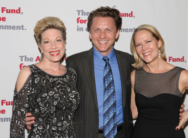 <p>Marin Mazzie, Jason Danieley, and Rebecca Luker are thrilled to be on hand.</p><br />(© David Gordon)