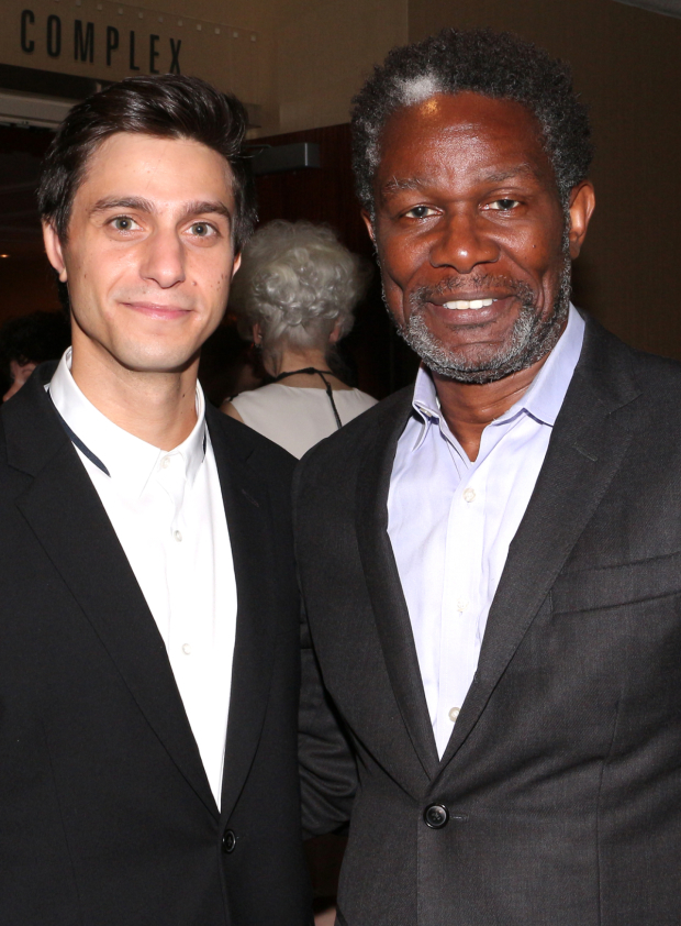 <p>Gideon Glick poses for a photo with John Douglas Thompson.</p><br />(© David Gordon)