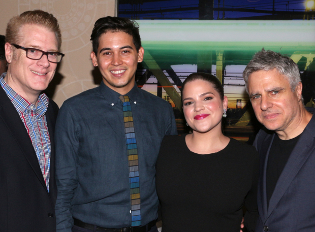 <p>The team behind Atlantic Theater Company&#39&#x3B;s <em>Tell Hector I Miss Him</em>: managing director Jeffory Lawson, director David Mendizabal, playwright Paola Lázaro, and artistic director Neil Pepe. </p><br />(© David Gordon)