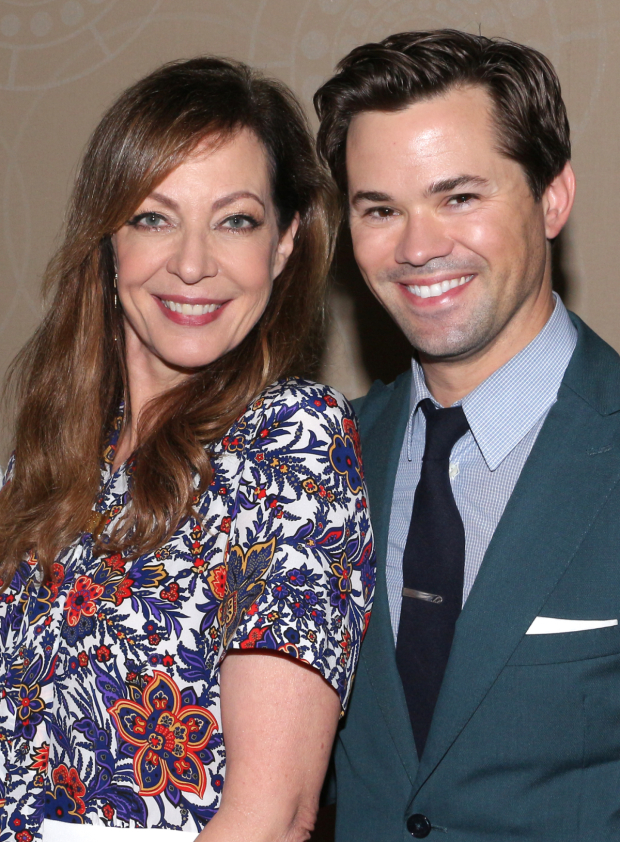 <p>Allison Janney and Andrew Rannells share a photo.</p><br />(© David Gordon)