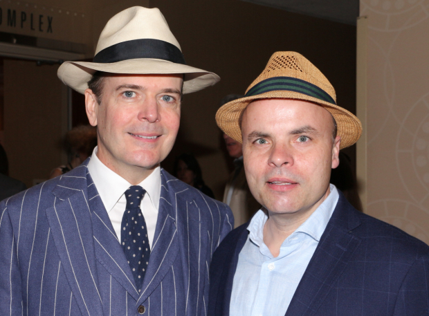 <p>Jefferson Mays and J.T. Rogers, part of the <em>Oslo</em> family.</p><br />(© David Gordon)